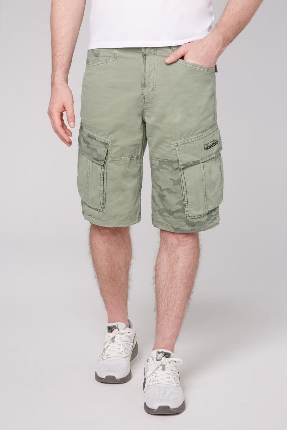 Cargo Shorts mit Print-Details treasure green
