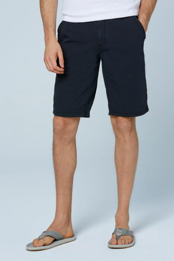 Chino Shorts Stone Washed mit tonigen Tapes blue navy