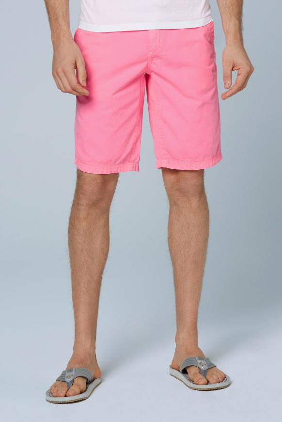 Chino Shorts Stone Washed mit tonigen Tapes neon pink