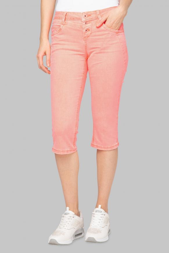 Coloured Capri Denim LY:IA mit Knopfleiste intense orange