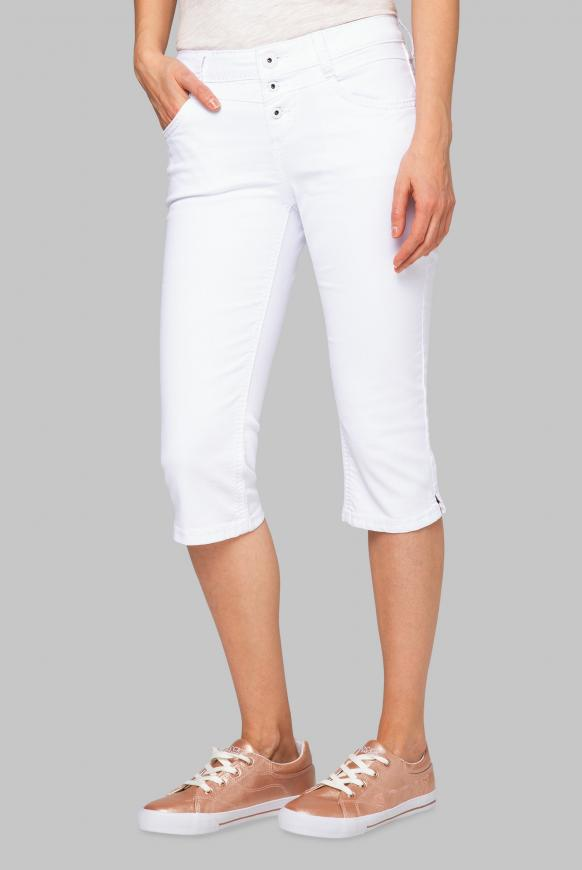 Coloured Capri Denim LY:IA mit Knopfleiste opticwhite