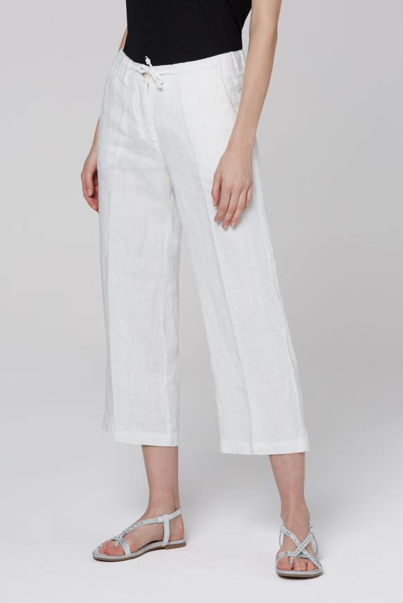 Culotte aus Leinen mit Bügelfalte cotton white