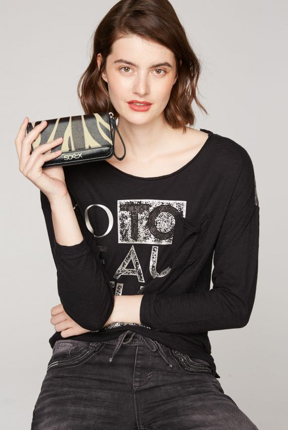 Damenbörse aus Kunstleder mit Felloptik black