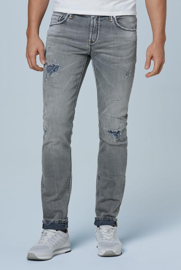Denim BR:AD im Aged Look mit Kontrast-Innenseite blue grey aged