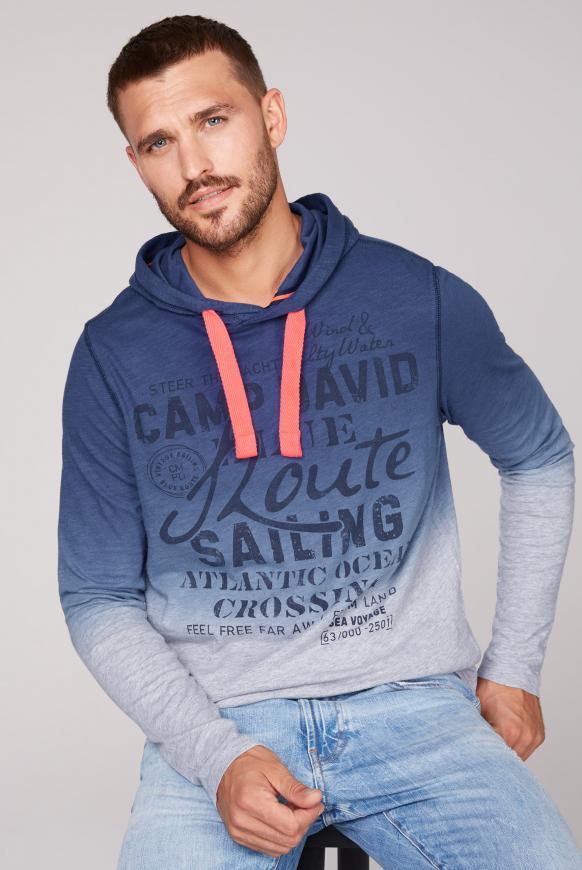 Dip Dye Kapuzenshirt mit Label Print blue navy