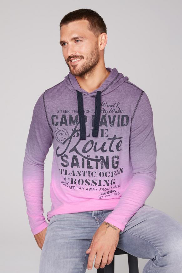 Dip Dye Kapuzenshirt mit Label Print neon pink