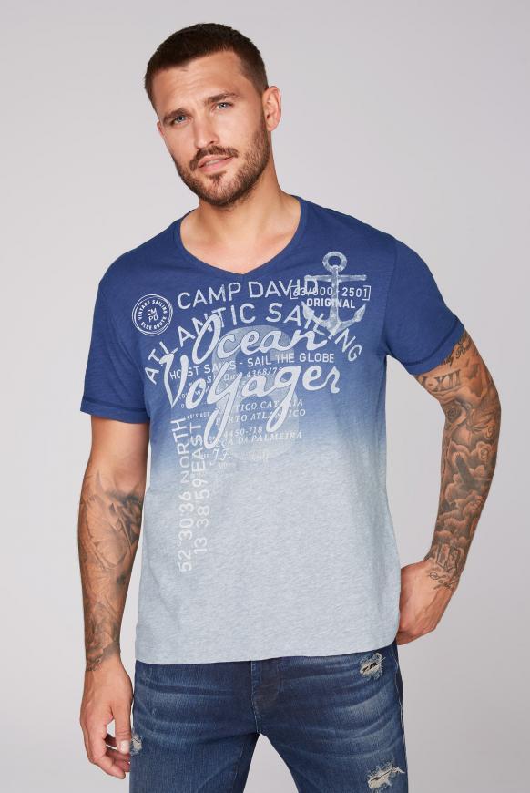 Dip Dye T-Shirt mit V-Neck und Print blue navy