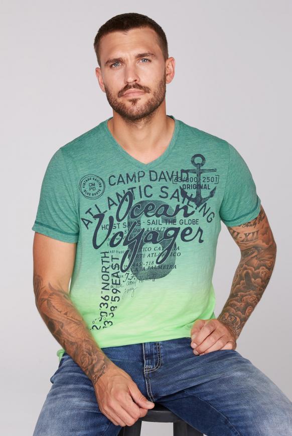 Dip Dye T-Shirt mit V-Neck und Print neon green