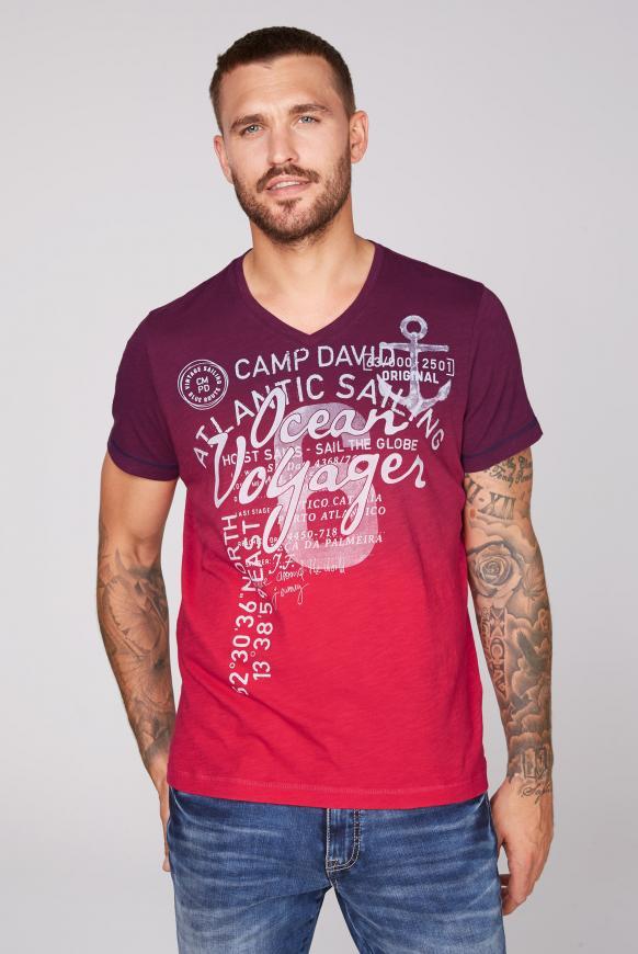 Dip Dye T-Shirt mit V-Neck und Print speed red