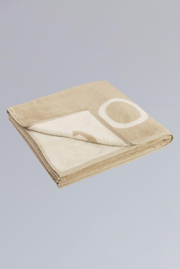 Duschtuch aus Frottier mit Logo beige / light beige