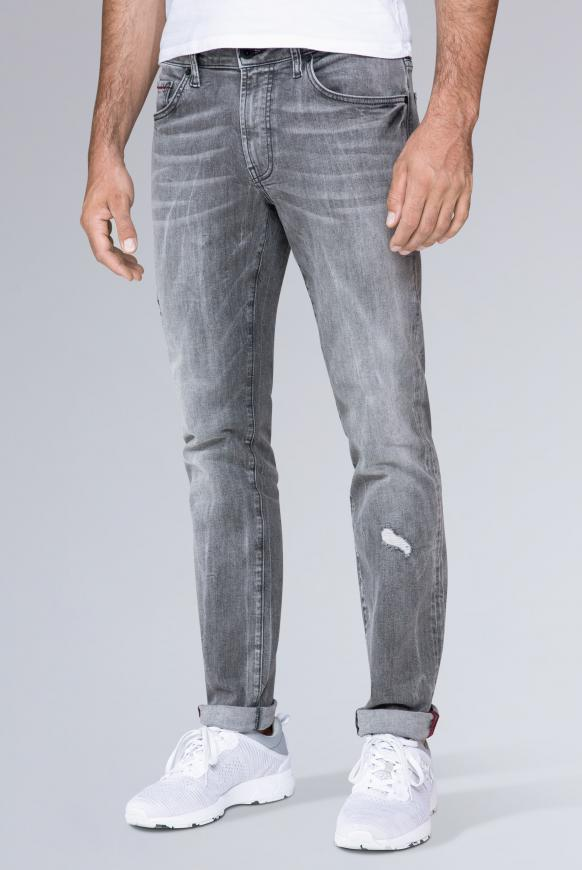 Five Pocket Jeans NI:LS mit Bleaching-Effekten grey used destroy