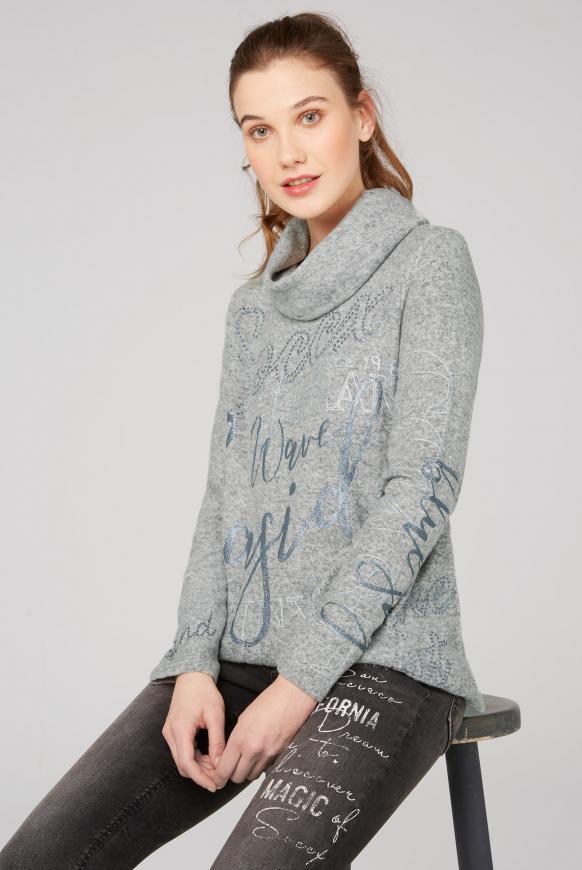 Fleece-Pullover mit hohem Kragen und Glitter Prints grey melange