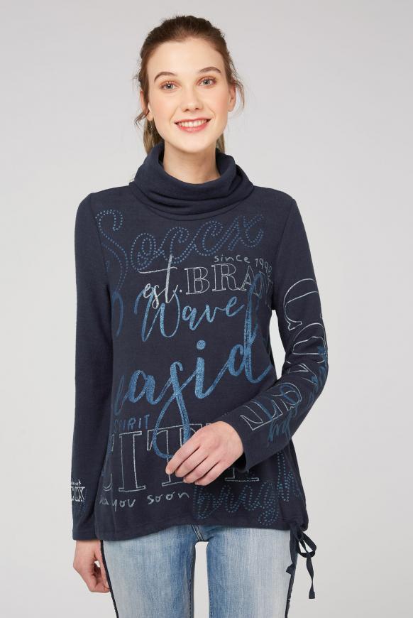 Fleece-Pullover mit hohem Kragen und Glitter Prints nautic navy