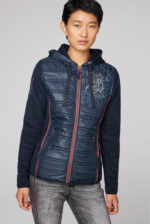 Fleecejacke im Materialmix mit Kapuze blue navy