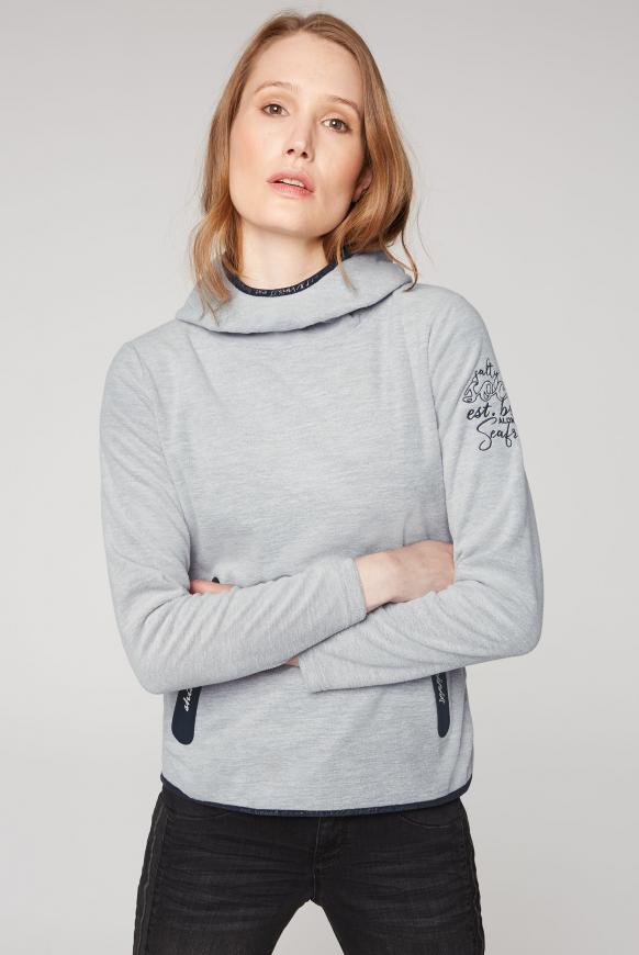 Fleeceshirt mit Kapuze und Coated Zipper grey melange