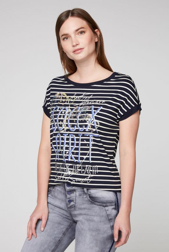 Fließendes Streifenshirt mit Frontprint horizon navy