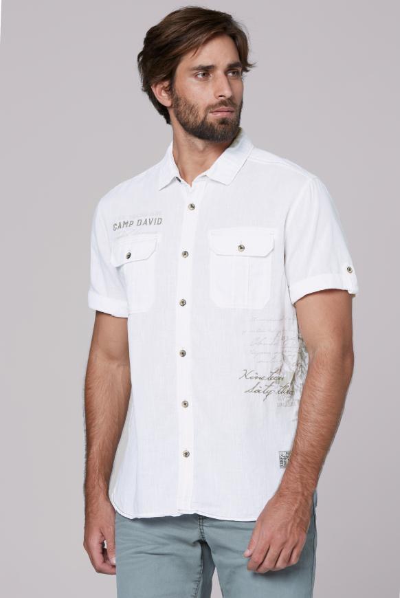 Freizeithemd mit Prints und Stickereien white