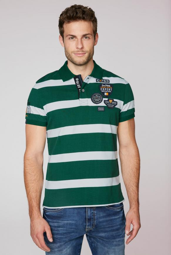Gestreiftes Poloshirt mit Patches und Artworks green sea