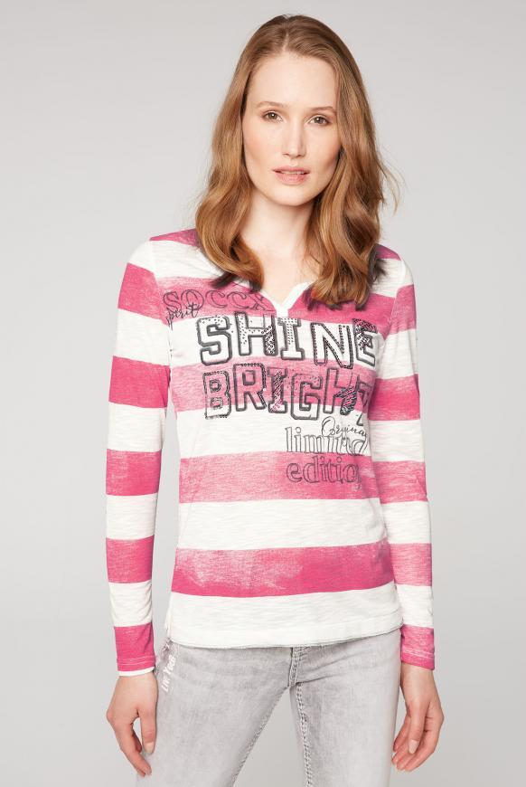 Gestreiftes Serafino-Shirt mit Artwork ivory / raspberry red