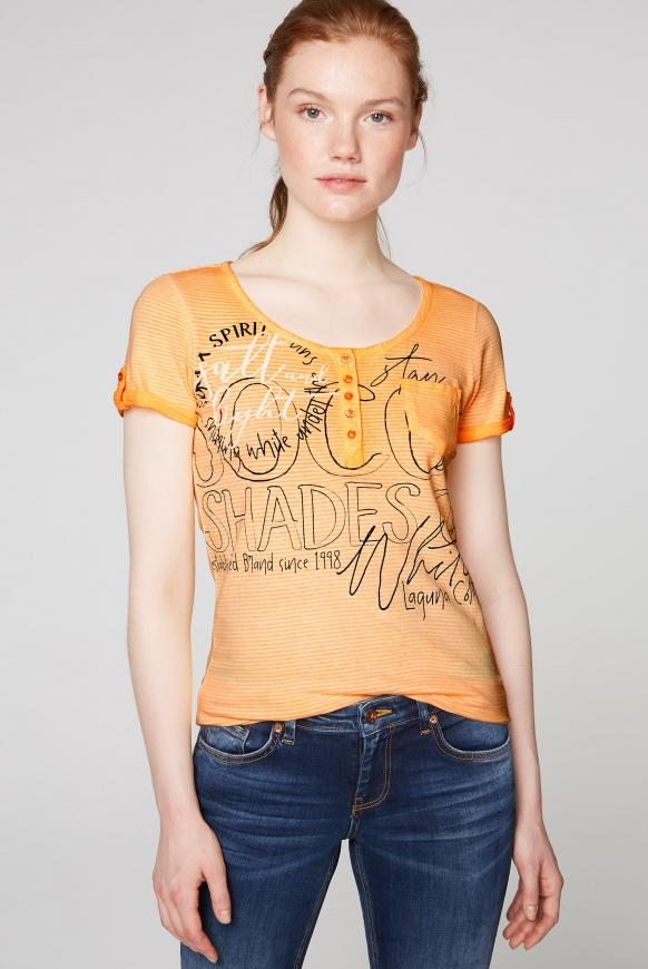Gestreiftes Serafino-Shirt mit Label Prints sunrise neon