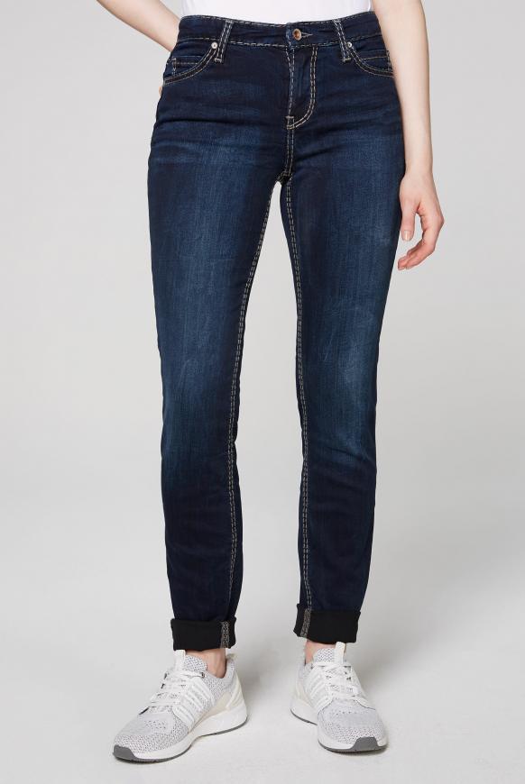 HE:DI Slim Fit Jeans mit Kontrastnähten dark blue