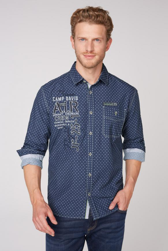 Hemd mit Musterprint, Artworks und Tasche blue navy