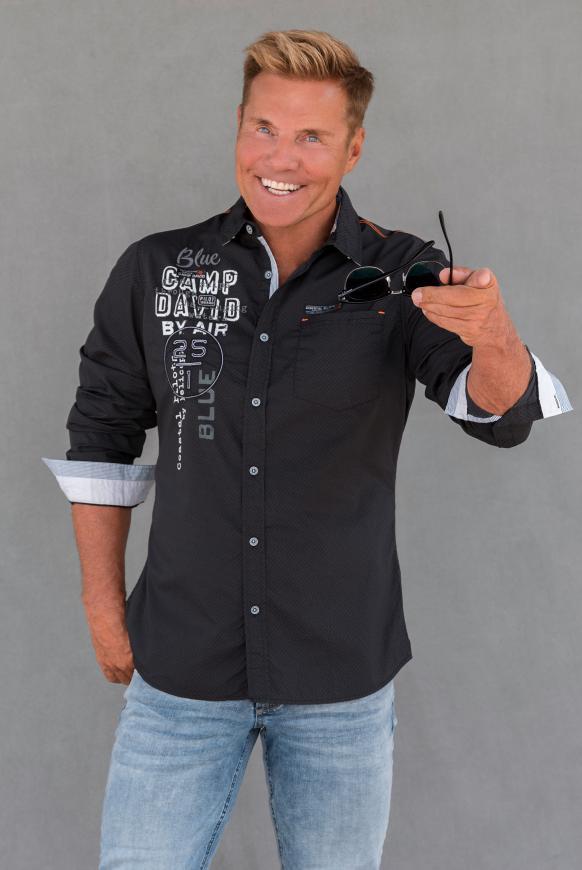 Hemd mit Musterprint und Artworks black
