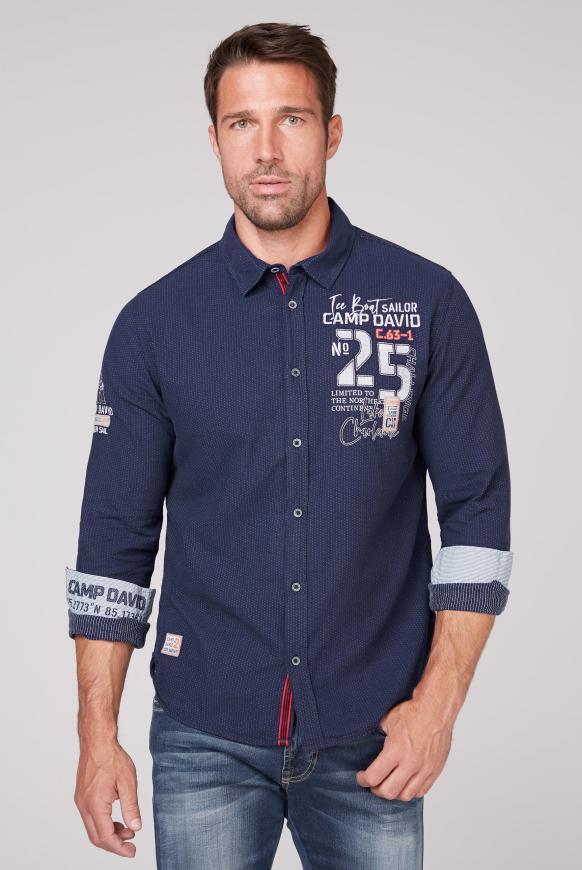 Hemd mit Punktemuster und Artworks indigo blue