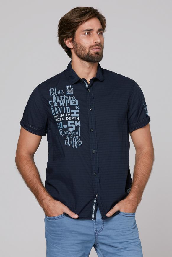 Hemd mit Strukturstreifen und Artworks blue navy