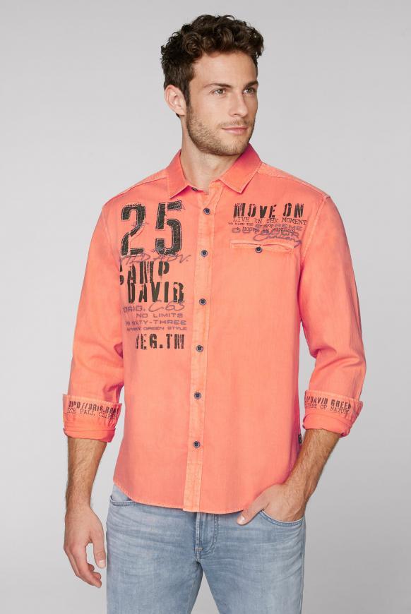 Hemd mit Webstreifen und Label-Applikationen winter orange