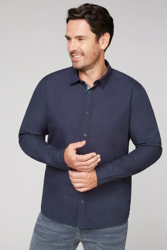 Hemd mit Webstruktur und Rücken-Print absolute blue