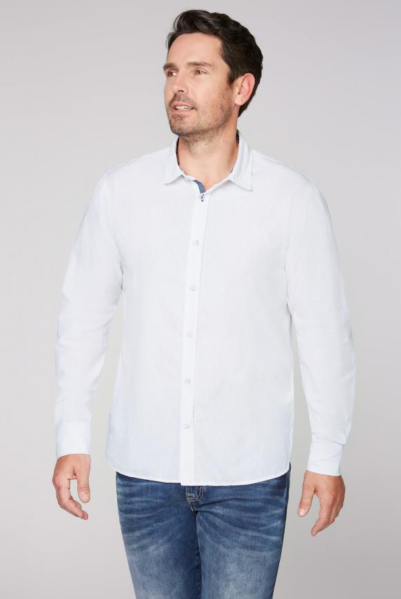 Hemd mit Webstruktur und Rücken-Print opticwhite