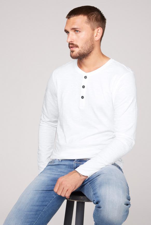 Henley-Langarmshirt aus Flammgarn opticwhite
