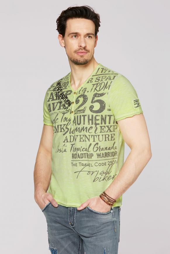 Henley-Shirt im Vintage Look mit Print neon lime
