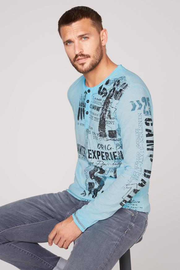 Henley-Shirt mit großem Label Print fresh breeze
