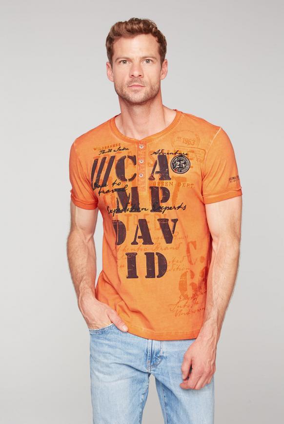 Henley-Shirt Oil Dyed mit Artwork sunstone