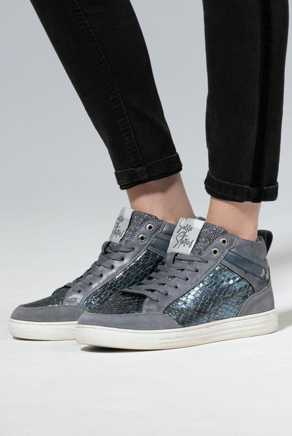 High Cut Sneaker mit Glitzer-Details icy blue