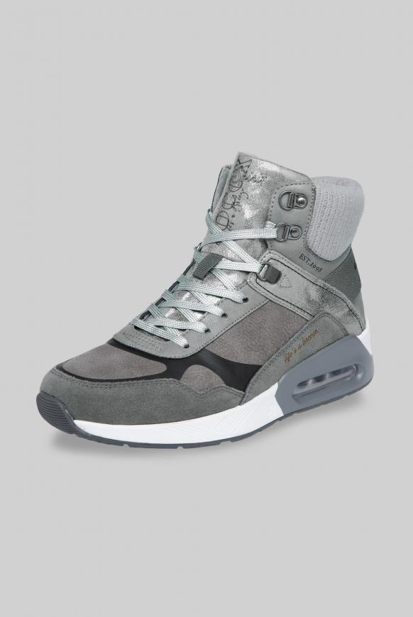 High-Top Sneaker im Materialmix dark ash
