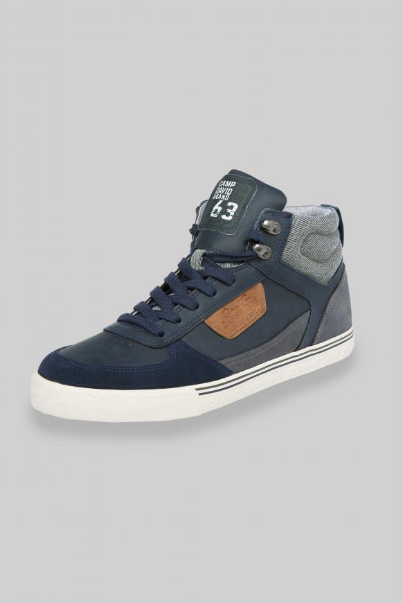 High Top Sneaker mit Label Patches deep sea