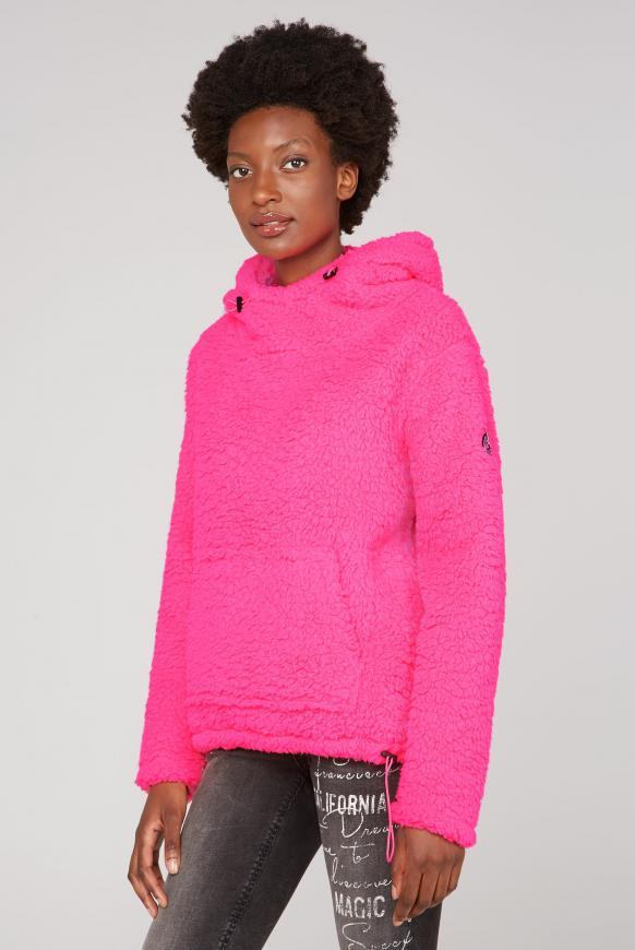 Hoodie im Teddy-Sherpa-Look knockout pink