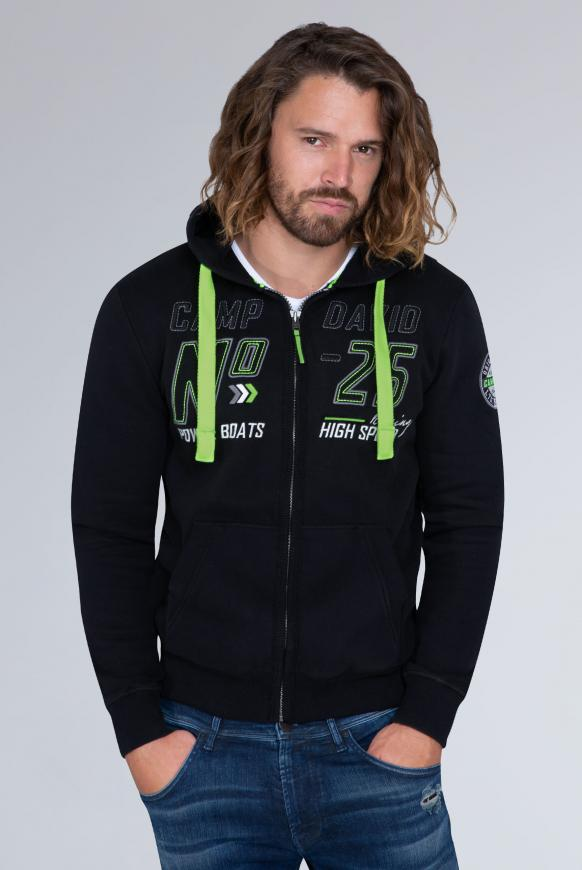 Hoodie Jacket mit Label-Applikationen black