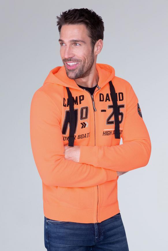 Hoodie Jacket mit Label-Applikationen neon orange