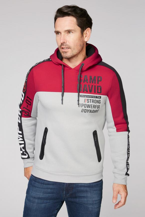 Hoodie mit Colour Blocking und Logo Prints bright red