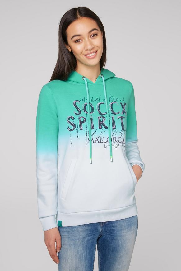Hoodie mit Farbverlauf und Artwork juicy green