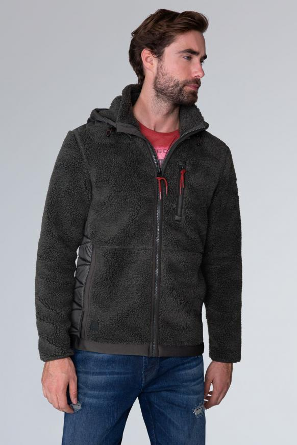 Jacke aus Teddyfleece mit Nylon-Kapuze charcoal