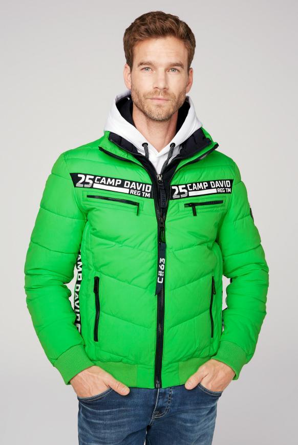 Jacke mit Doppelverschluss und Logo Tapes electric green