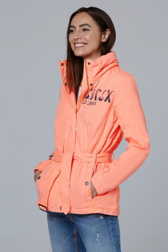 Jacke mit Kapuze und Taillengürtel neon orange