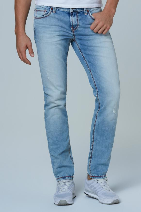 Jeans BR:AD im Used Look mit bunten Nähten light used