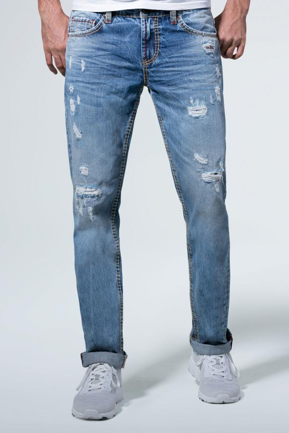 Jeans BR:AD im Used Look mit unterlegten Destroys authentic blue