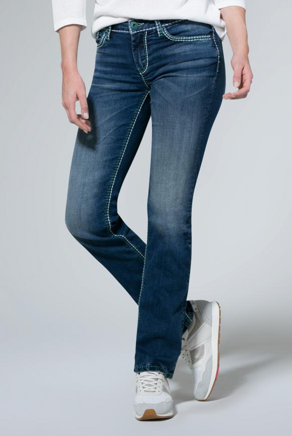Hosen - Jeans CO LE mit Kontrastnähten und Boot Cut Farbe medium blue washed  - Onlineshop CAMP DAVID, SOCCX